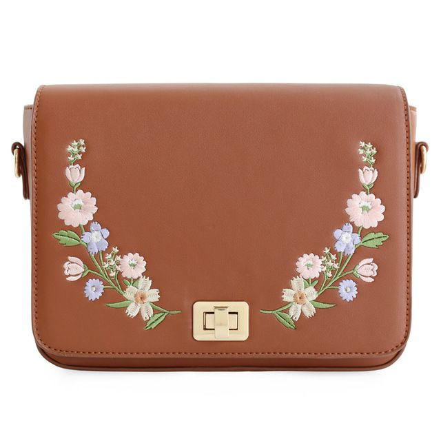Latest Discount $32.30, Buy ENSSO New Arrival Vintage Floral Flower Lady Embroidery Rose Chain Leather PU Women's Shoulder Messenger Crossbody Bag Flap