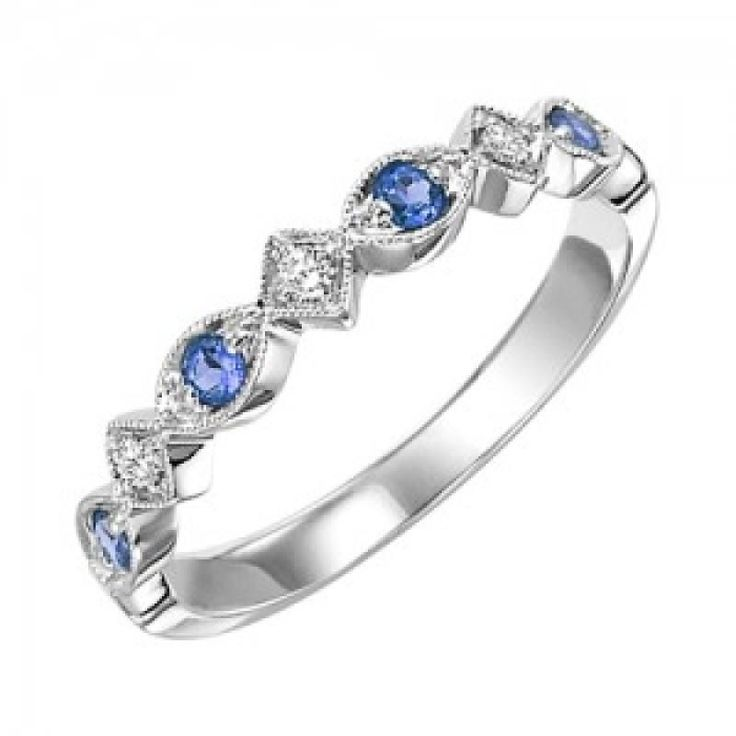 10k white gold diamond and sapphire birthstone ring. The perfect September birthstone ring or mothers ring, this 10 karat white gold band has round sapphires and diamonds alternating half way around t