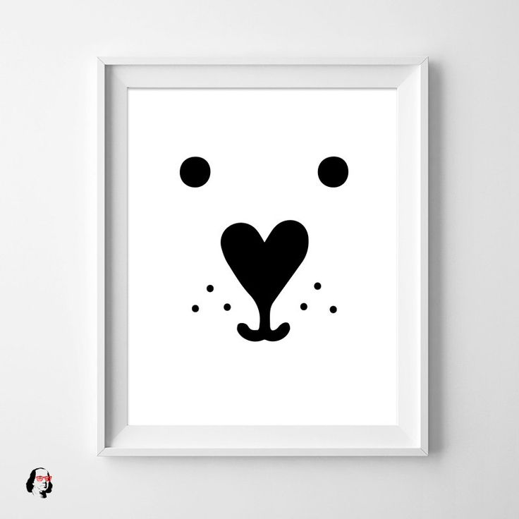 Nursery white bear nursery decor nursery art animal print funny kids wall