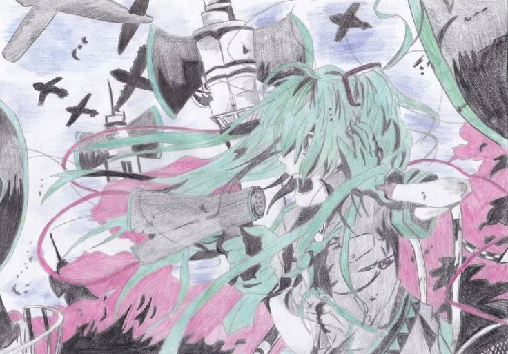 The drawing of #Hatsune Miku, love is war in colour  #vocaloid
