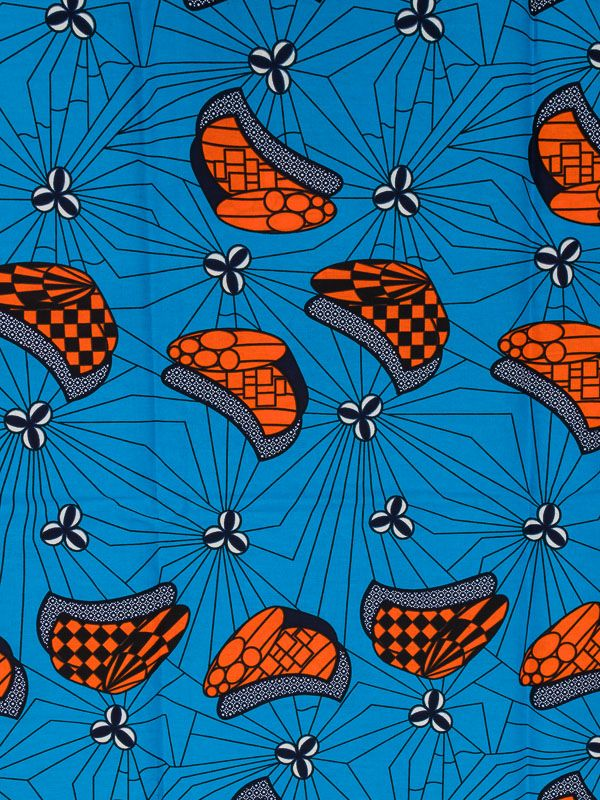 Ankara Fabric Online Real Wax Blue Orange Web Designs For Party Dress rw78310