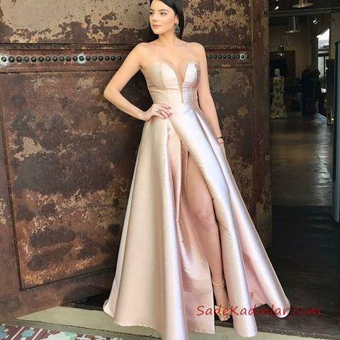 2020 Saten Elbise Modelleri Krem Uzun Straplez Yirtmacli Yaka Klos Etek Elbise Elbise Modelleri Resmi Elbise