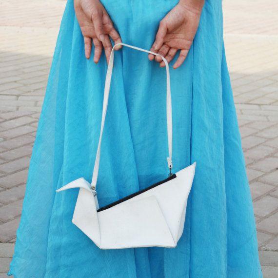 White origami inspired leather crane handbag . Oriental japanese minimalist white purse, asymmetrical design clutch hand bag Ask a Question...