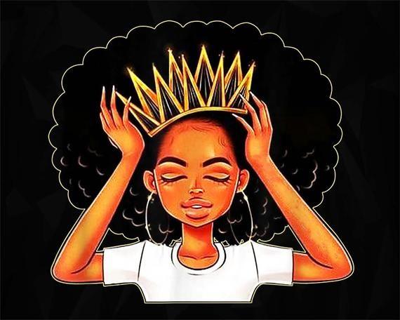 Virgo Queen Af Zodiac Crown Png Black Queen Crown Black Girl Png Black Pride Melanin Png Black Girl Ar African Queen Tattoo Black Girl Art Black Pride Art