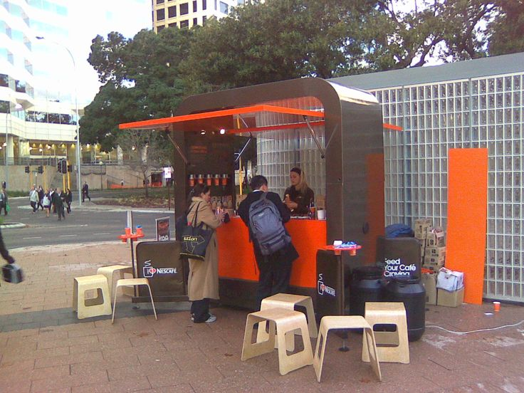 NESCAFE BRAND ACTIVATION To help Nestle launch its new instant espresso range of products we designed and produced these sampling carts together with Maverick Marketing and Communications. The carts change locations daily to various high traffic areas throughout Australia to distribute free product samples