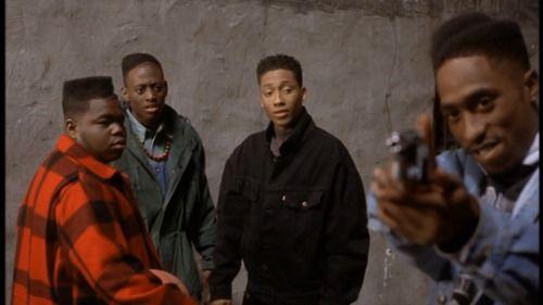 "Tupac Shakur, Omar Epps, Khalil Kain, and Jermaine Hopkins in ""Juice"" (1992)"