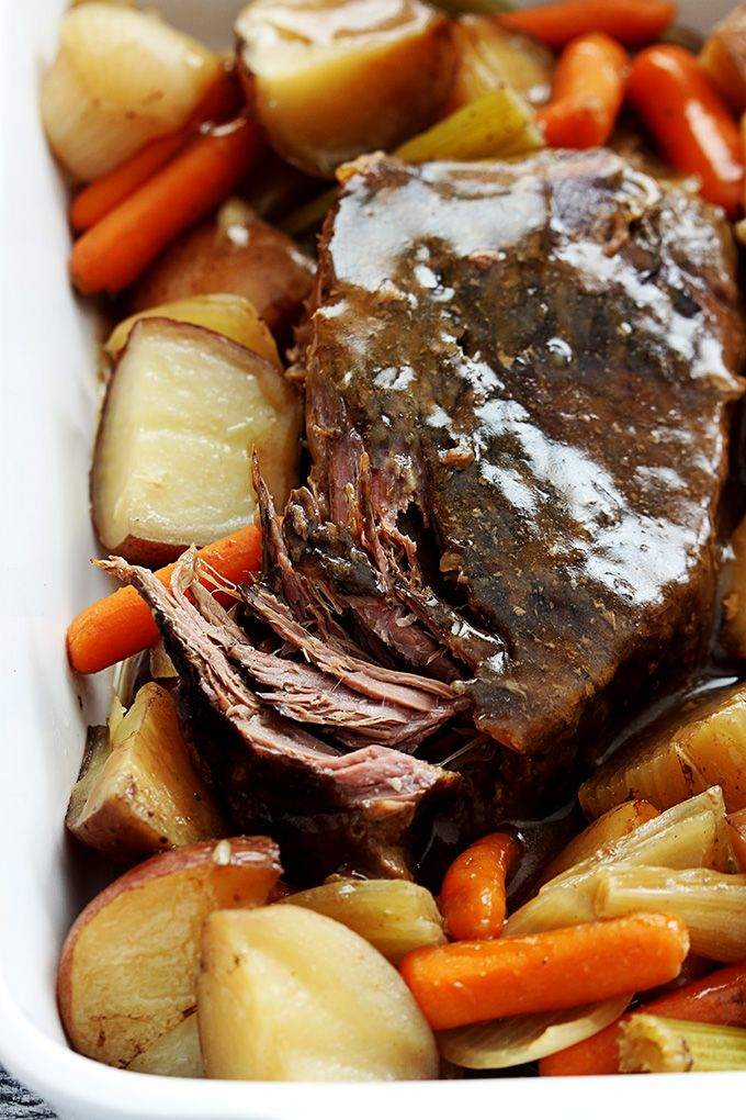 Juicy, tender slow cooked beef roast with seasoned vegetables. Top it off with a…