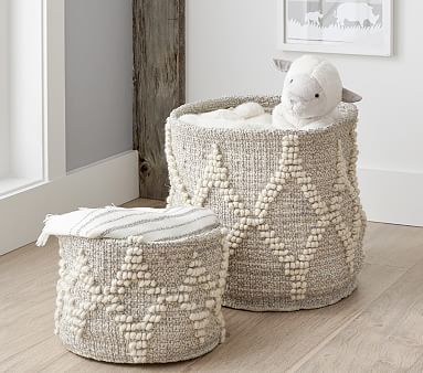 Winter Bohemian Wool Basket -White w/ Silver Metallic Toy Dump