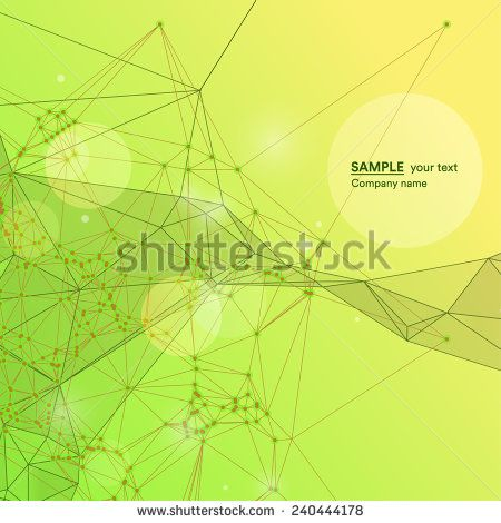 Abstract background on network and technology with polygonal shapes and lines