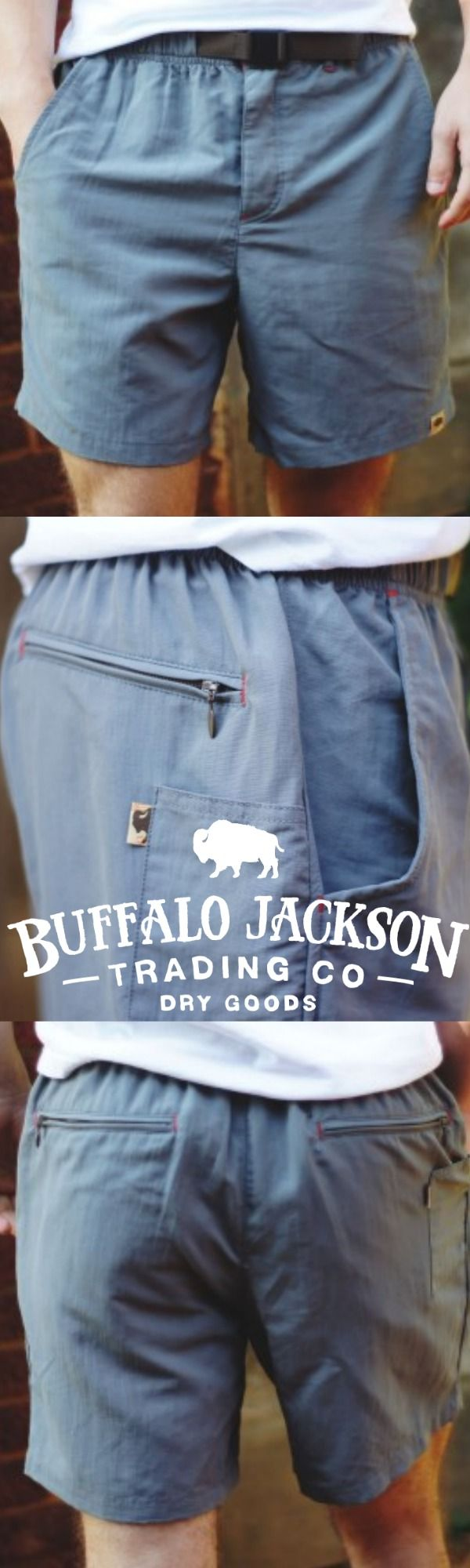 Riverdale Men's Outdoor Belted Shorts by Buffalo Jackson Trading Co. The 100% quick dry nylon is perfect for adventures on land or water. Also available in red or blue. (Shown here in gray.)