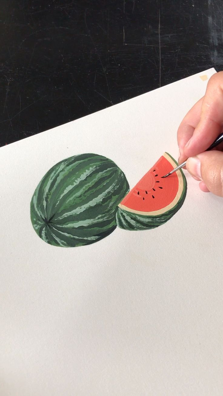 Painting a Watermelon with Gouache by Philip Boelter