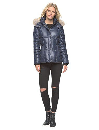 Marc New York by Andrew Marc Womens Aubrey Down with Coyote Fur Hood Medium Denim -- You can get additional details at the image link. (Note:Amazon affiliate link)