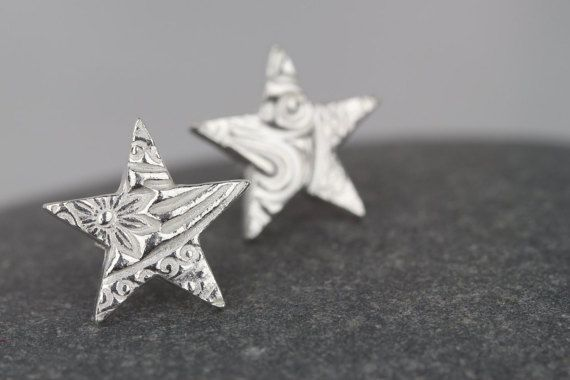 Star studs ~ handmade textured earrings ~ simple solid silver studs ~ perfect gift ~ girlfriend present ~ textured pattern earring