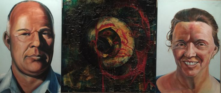 """Triptych: """"Father, son, Mother"""" 1998 Oil and mixed media on canvass 1.5m x 4m"""