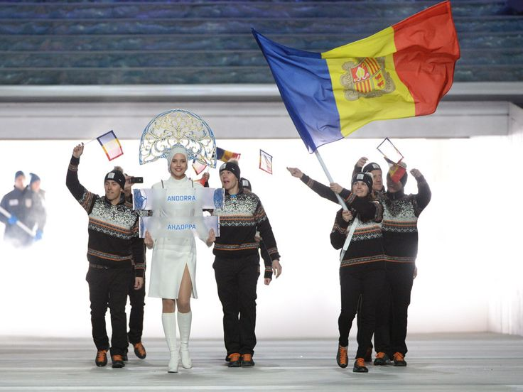 Nordic knit sweaters of the Andorra athletes at #Sochi Olympics opening ceremony Parade of Nations.