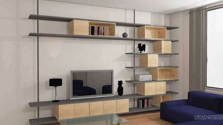 Dans ce salon, trois propositions pour un meuble télévision-bibliothèque. Quelle est votre préférée ? #salon #bibliotheque #design #architecture #deco #madeinfrance #angers