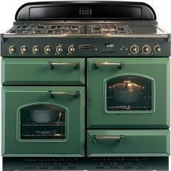 This Rangemaster Classic 110 Gas Range Cooker is in green with brass handles and control dials making it a statement piece for your kitchen. It has 2 full sized ovens, a separate grill and a storage drawer. There are 5 hob burners and there is a griddle on the right hand side. A great cooker for a family home or for those who entertain a lot.