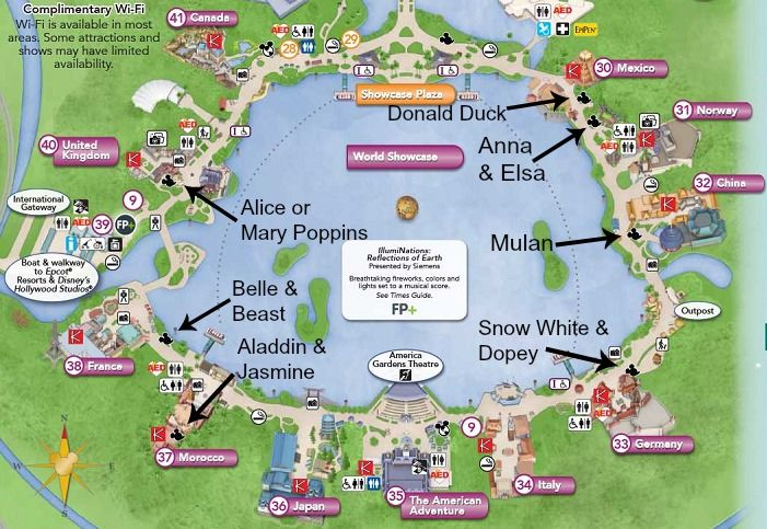 Looking for meet & greet locations at Epcot? Here is a comprehensive list of where you can find the Disney Characters at Epcot's World Showcase.