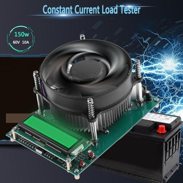SODIAL 150W Constant Current Electronic Load 60V 10A Battery Tester Discharge Capacity Tester Meter 12V