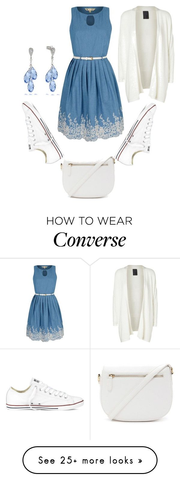 """""""Dress w/ converse"""" by adancetovic on Polyvore featuring Yumi, Converse, Minimum, Forever 21, women's clothing, women's fashion, women, female, woman and misses"""