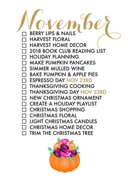 November Seasonal Living List