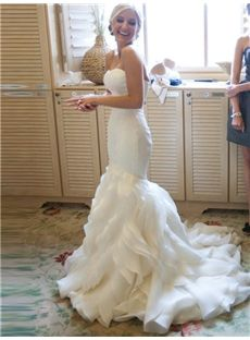 All Sizes Spring Natural Court Trumpet Mermaid Strapless Floor Length Organza Satin Wedding Dress