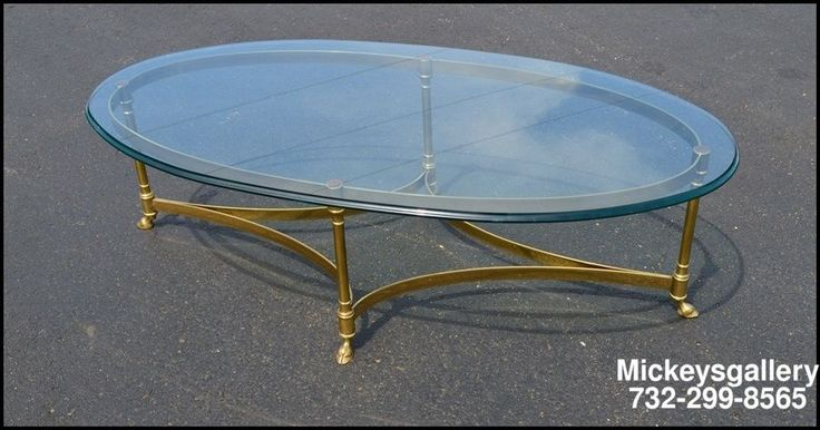 Labarge Oval Brass Amp Glass Rams Hoof Cocktail Coffee Table