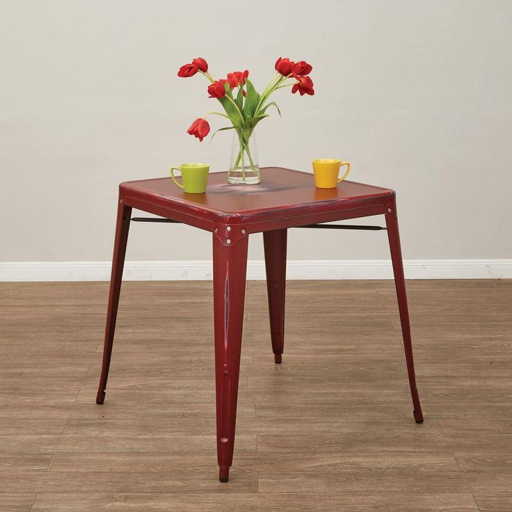 Bristow Antique Red Metal Accent Table