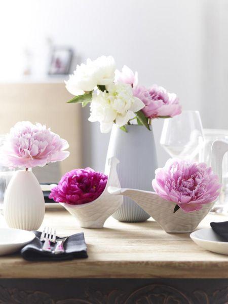 Wie wir Pfingstrosen präsentieren? In kleinen Vasen! Hier geht's zum DEKO-TIPP >>