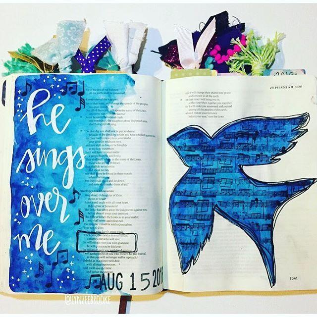 """""""Bible Journaling by @lynzeebrooke   Zephaniah 3:17"""