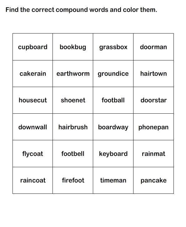 compound words worksheet 11 esl efl worksheets kindergarten worksheets educational. Black Bedroom Furniture Sets. Home Design Ideas