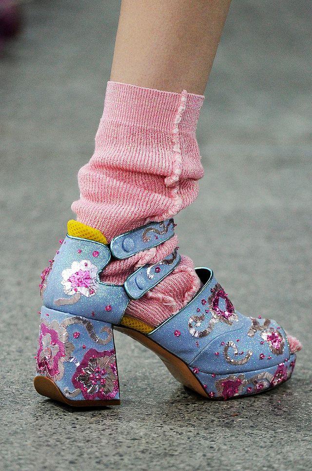 Beaded denim ladies shoe boho style