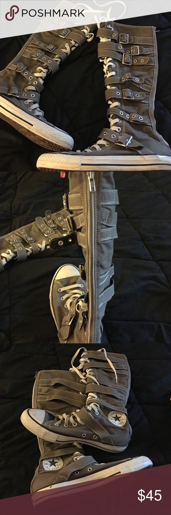 Knee high Converse Women's converse knee high boots. Great condition!! Converse Shoes Lace Up Boots