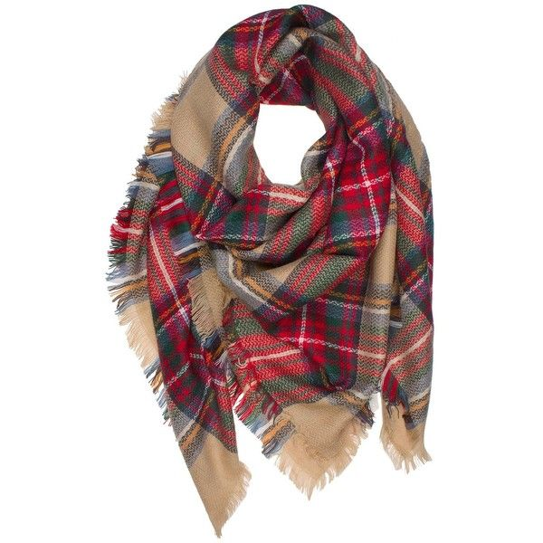 DRY77 Large Oversized Square Blanket Plaid Tartan Pattern Scarf Wrap ($15) ❤ liked on Polyvore featuring accessories, scarves, tartan shawl, wrap shawl, square scarves, wrap scarves and tartan wrap shawl