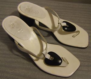 Gucci Leather Thong Sandals Shoes Size 5 5 White Designer Flip Flop Authentic | eBay