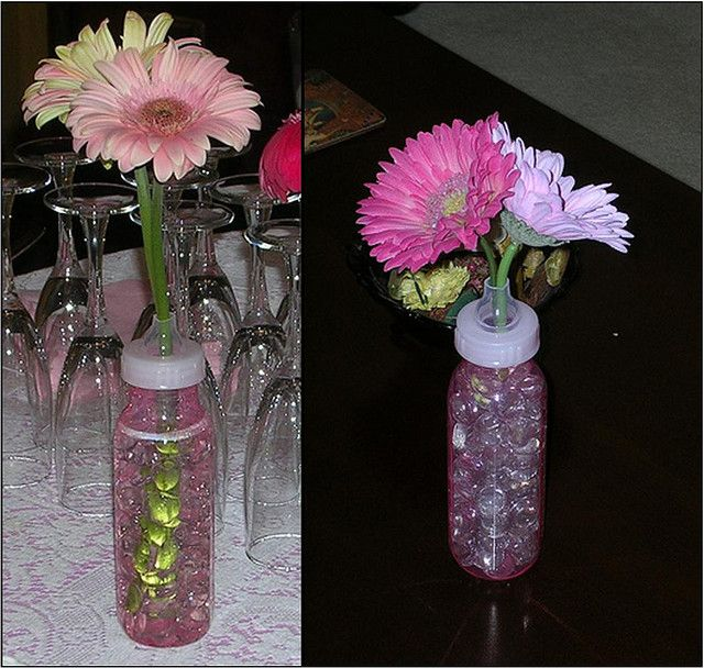 baby shower idea for center pieces; dollar store baby bottles