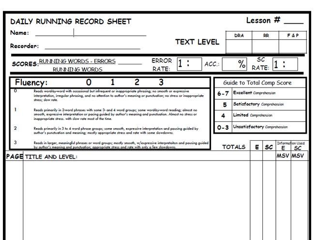 LLI running record form...includes retell and fluency