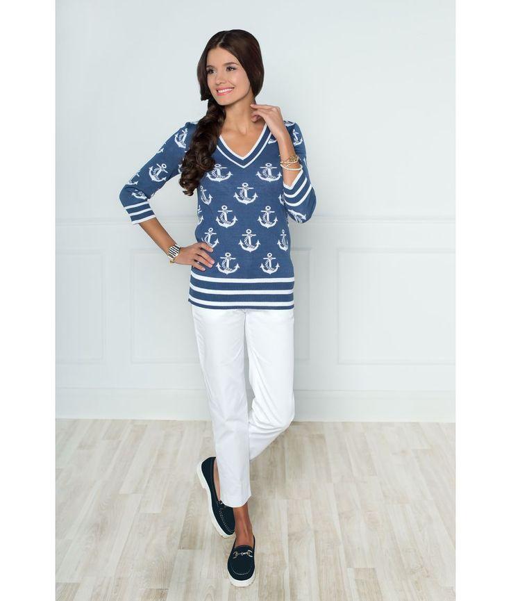 Стильный модный джемпер Andovers из вязаного трикотажа в морском стиле. Этот джемпер с рукавом 7/8 - хит сезона! Он подойдет и для городской жизни, и для отдыха на природе. Модный джемпер можно комбинировать с юбкой или брюками любого фасона.