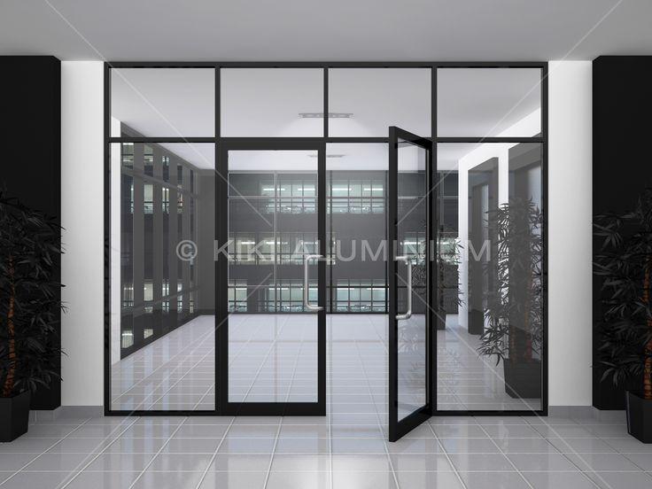 Pintu Swing Group 2000 & Kusen Kaca Mati dengan panel kaca polos; Finishing profil aluminium powder coating warna Black Satin