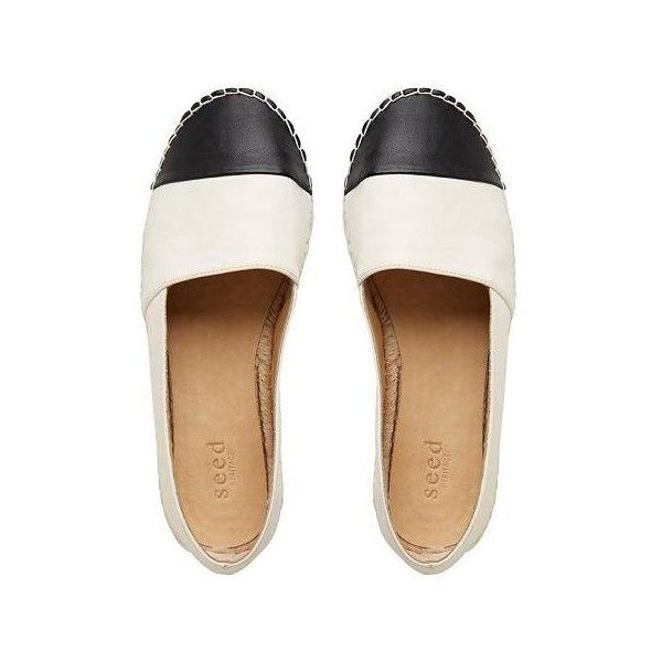 Womens Shoes | Ava Leather Espadrille | Seed Heritage (€90) ❤ liked on Polyvore featuring shoes, flats, chaussures, flat pumps, genuine leather shoes, black white shoes, black and white leather shoes and leather espadrilles