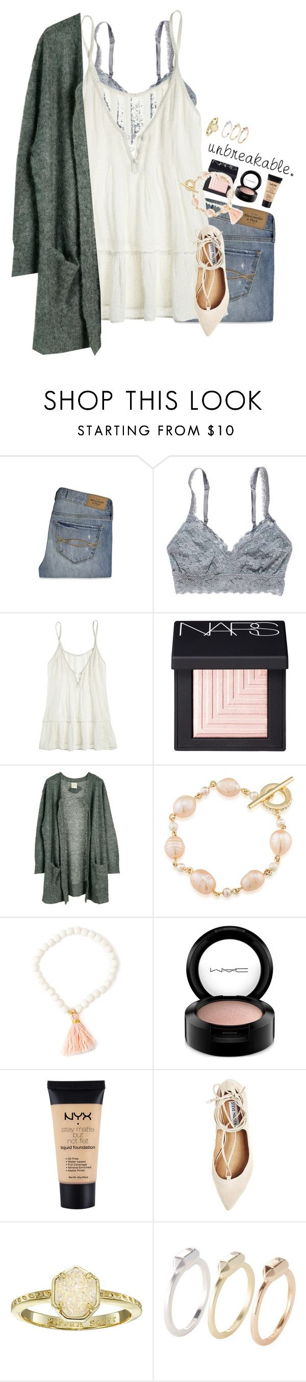"""""""unbreakable."""" by sdyerrtx ❤ liked on Polyvore featuring Abercrombie & Fitch, American Eagle Outfitters, Calypso St. Barth, NARS Cosmetics, Julie Fagerholt Heartmade, Carolee, MAC Cosmetics, NYX, Steve Madden and Kendra Scott"""