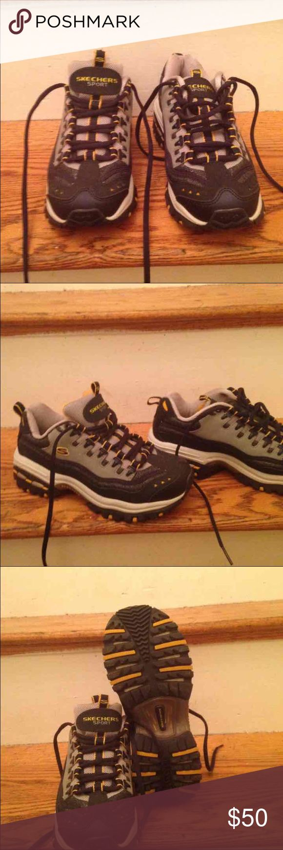 Brand new Skechers Sport 6 boys Heavy bottom Skechers running shoes paid $129 for them during back to school but neither of my kids will wear them. They are black gold and silver. Any questions please ask. Skechers Shoes Sneakers