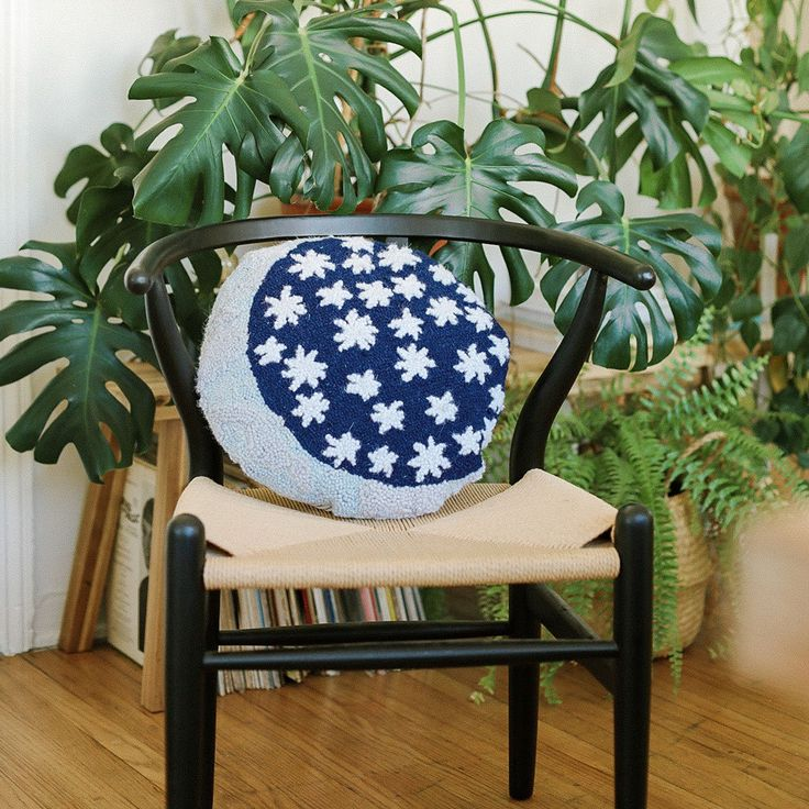 We're over the moon about this new pillow! Our Erte Hook Pillow is designed by Justina Blakeney® features a cosmic pattern of the stars and moon! We're into the round shape – it makes for the perfect accent pillow on a cozy chair or layered on a bed with other comfy pillows. While the neutral palette of navy, ivory, and gray feels classic, we dig the jungalicious twist of the multi-colored moon! Look closely to find an array of soft hues that looks out-of-this-world! Images by Sara Toufali… Over The Moon, Stars And Moon, Justina Blakeney, Cozy Chair, Neutral Palette, Pillow Sale, Accent Pillows, Wall Decor, Bedroom Decor