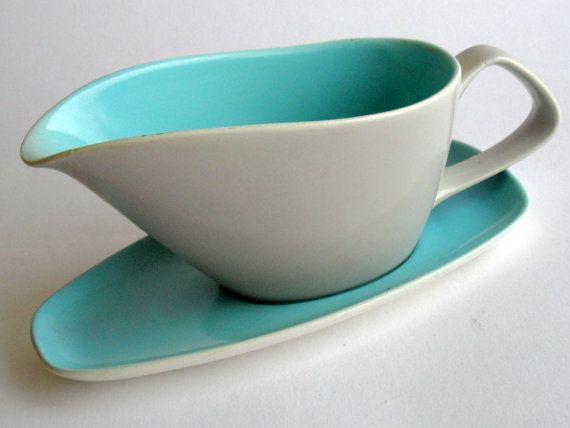 1950s Poole Twintone Contour Gravy Boat, Blue & Grey, Vintage Modern Pottery England