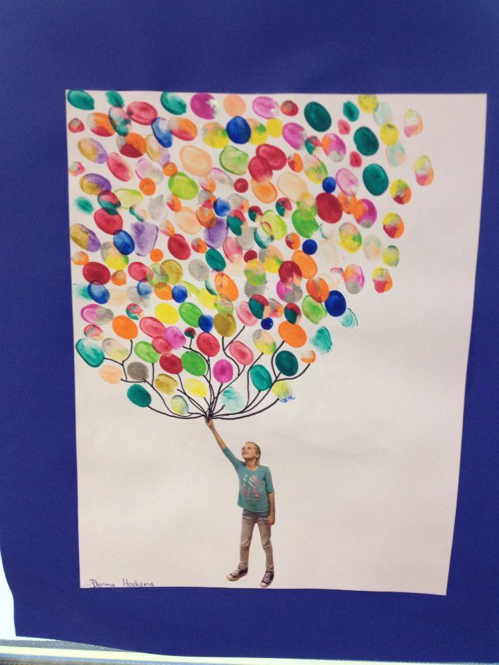 Ballonnen stempelen met vingers