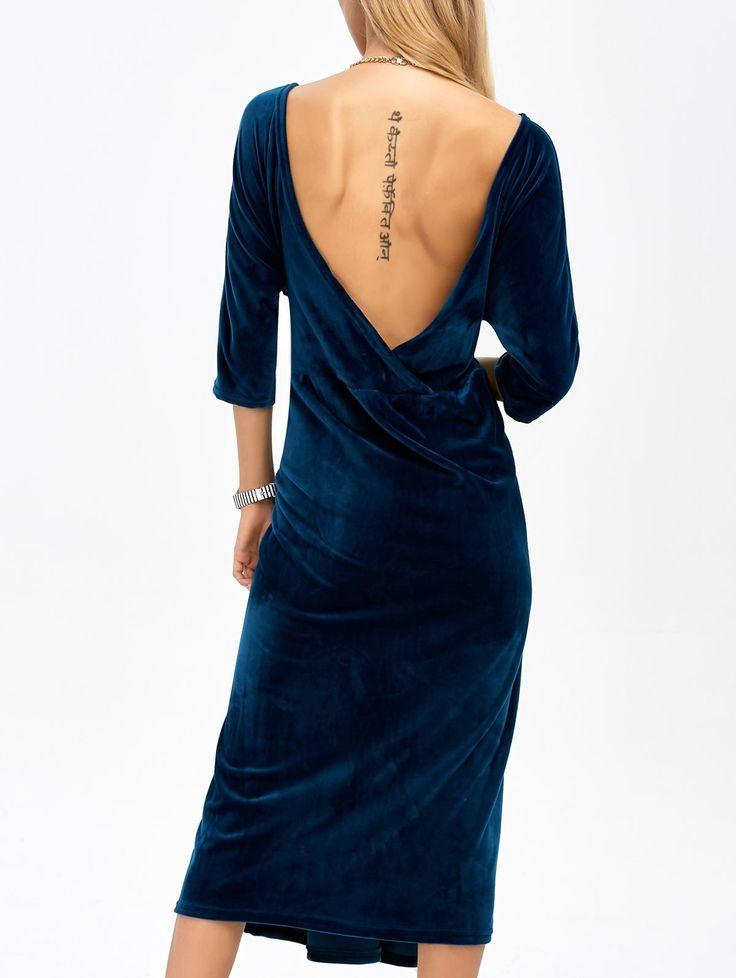 $22.87 for Open Back Velvet Tea Length Dress DEEP BLUE: Fall Dresses 2016 | ZAFUL