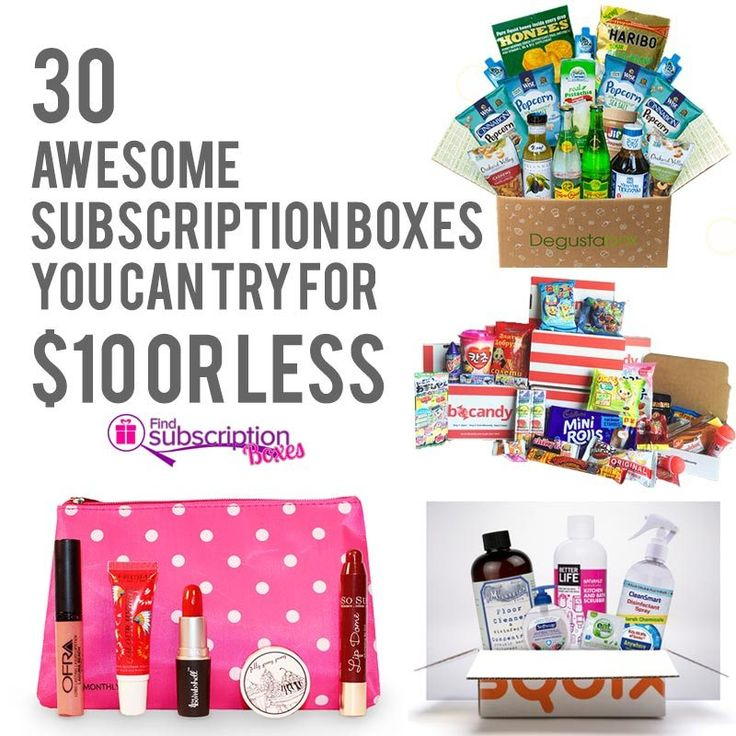 Find amazing subscription boxes you can try for $10 or less. Get beauty, snacks, baking kits, fashion, boxes for men, kids and more monthly boxes delivered.