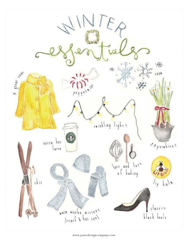 When I first painted the summer essentials artwork, I was just doodling with my kids. Who knew this would turn into a seasonal series of artwork?! If you loved the summer essentials print and adored the autumn essentials print, I think you'll be pleased with this charming new winter essentials paint…