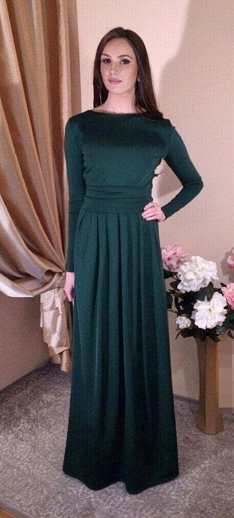 Dark Green  Maxi Women's Dress Long Sleeves Pockets by DesirVale