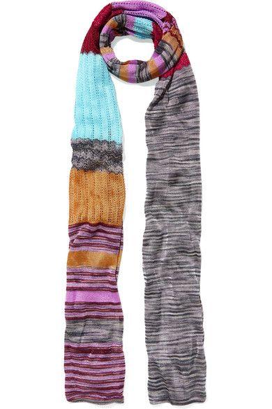 Missoni - Metallic Crochet-knit Scarf - Blue - one size